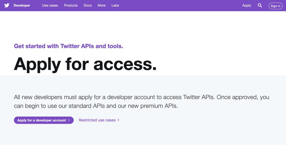 TwitterAPI 申請トップ画面