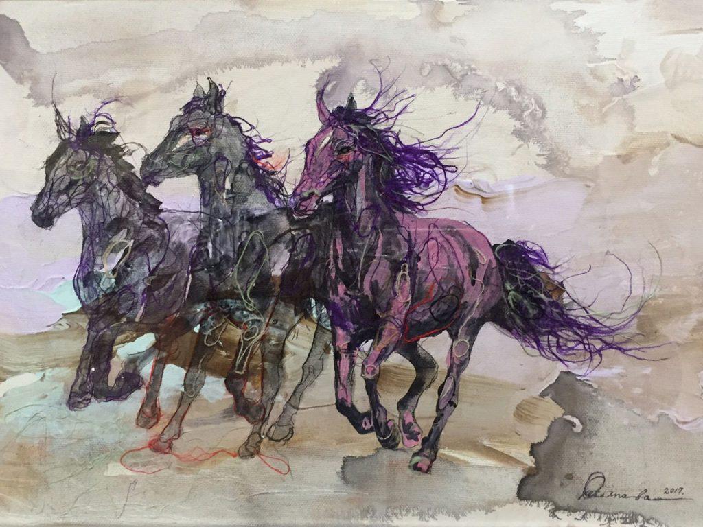 馬 繊維画