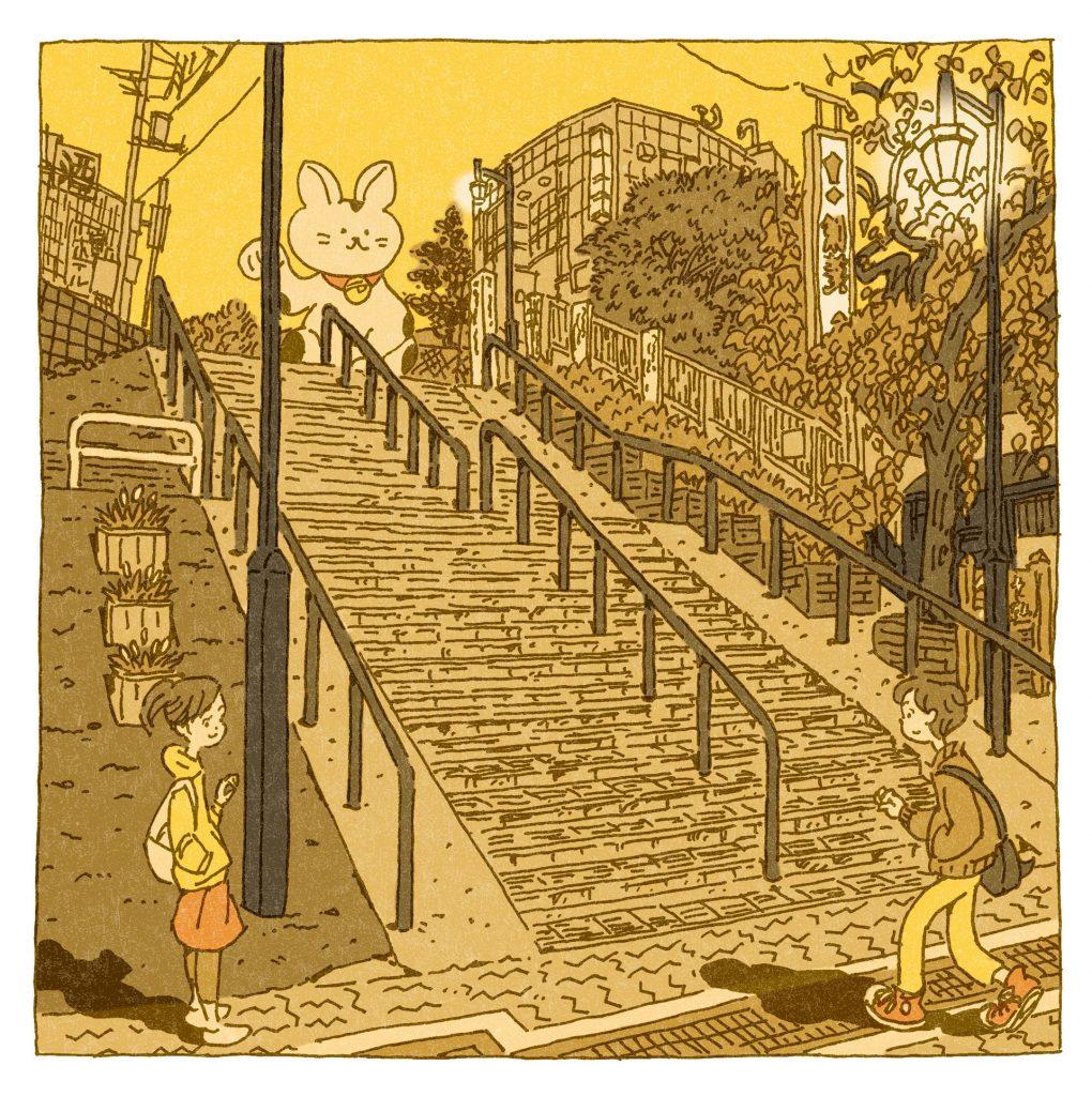 『夕焼けだんだん(谷中)』のイラスト